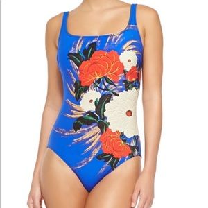 Women's Blue Mandarin Square-Neck Swimsuit 8